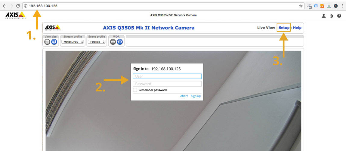 "Enter the camera's IP address into your web browser and connect to your camera.    Click on the ""Setup"" button."